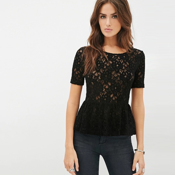 342b3beb0ef50c Forever 21 Black Textured Lace Peplum Top NWT